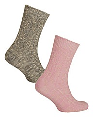 2 Pack Boot Pink/Grey Socks