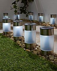 10 White Solar Post Lights