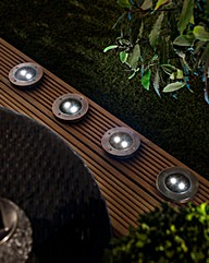 Set of 4 Ground Solar LED Spot Lights
