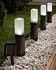 Set of 4 Rattan Style Solar Lights