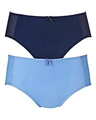 Blue Check Two Pack Mesh Midi Briefs