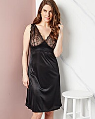 Single Lace Full Slip, Black, L41