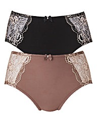 Mink/Black Two Pack Ella Lace Briefs