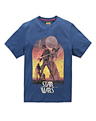 Star Wars Sunset Poster Navy T-Shirt Lon