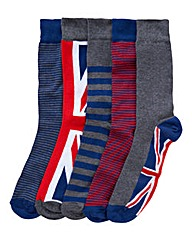 Southbay Pack of 5 Union Jack Socks