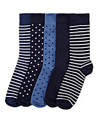 Southbay Pack of 5 Spotty/Stripe Socks