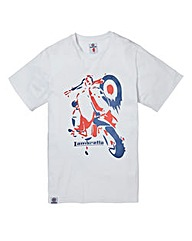 Lambretta Stencil White T-Shirt Long
