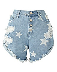 Alice & You Star Print Denim Shorts