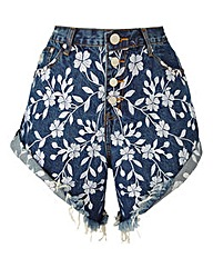 Alice & You Embroidered Denim Shorts