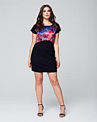 Wolf & Whistle Rose Satin & Jersey Dress