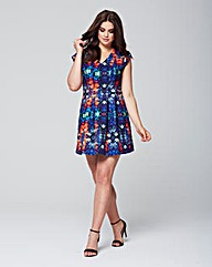 Wolf & Whistle Floral Mirror Print Dress