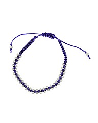 Sterling Silver and Purple Cord Bracelet