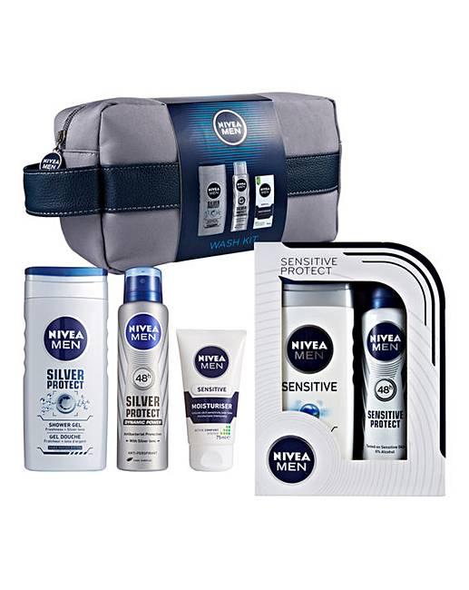 Nivea Men Wash Bag & Sensitive Gift Sets   Jacamo