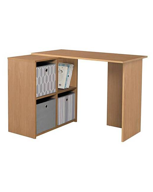 Home Calgary Corner Desk Oak Effect Fashion World