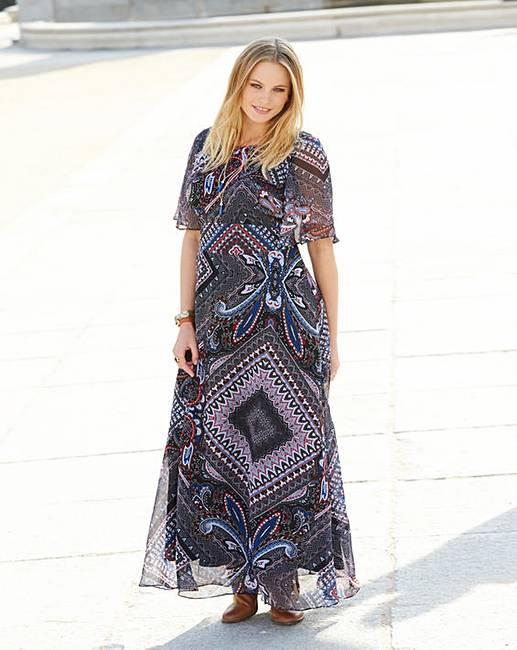 Print Maxi Dress   Fifty Plus