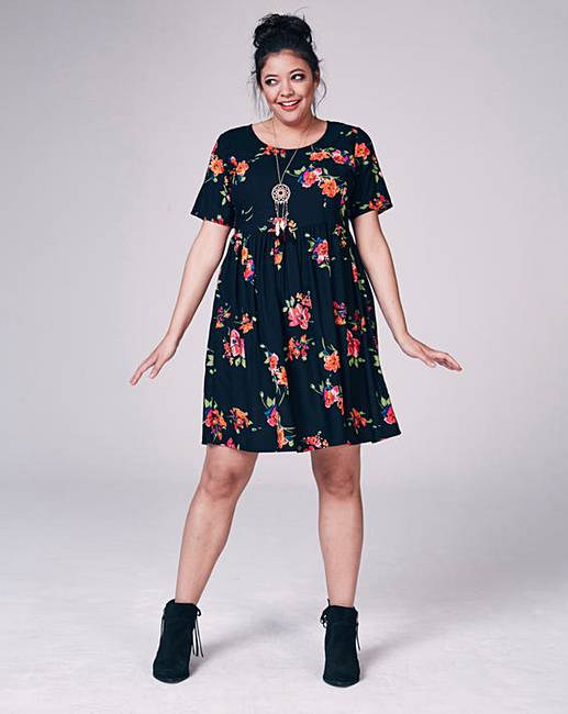 Black Floral Short-Sleeve Babydoll Dress | Simply Be