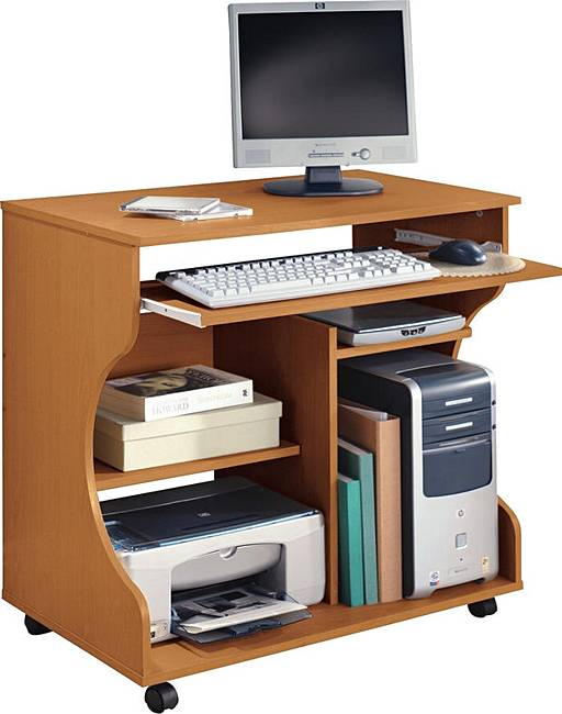 Curved Computer Desk Trolley Pine Effect J D Williams