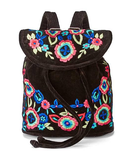 Embroidered Floral Backpack J D Williams