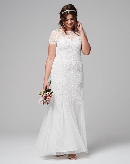 Joanna hope beaded maxi dress simply be for Simply be wedding dresses