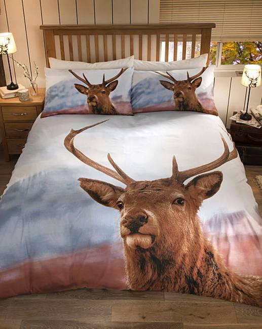 highland stag print duvet cover set marisota. Black Bedroom Furniture Sets. Home Design Ideas