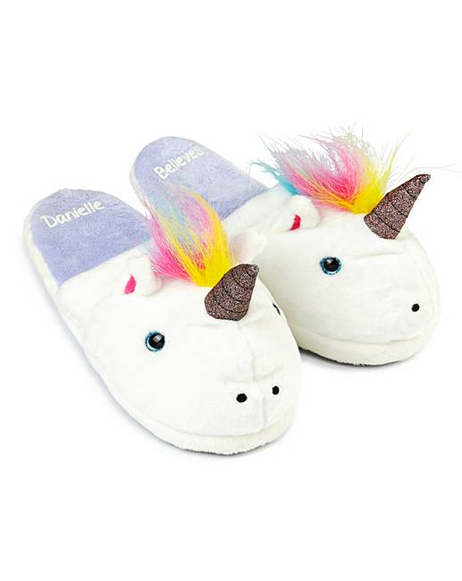 personalised unicorn slippers simply be. Black Bedroom Furniture Sets. Home Design Ideas
