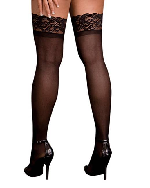 Dreamgirl sheer lace stockings simply be for Simply stockings