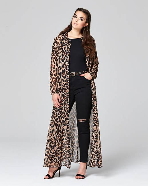 Simply Be Leopard Print Maxi Shirt Dress | Simply Be