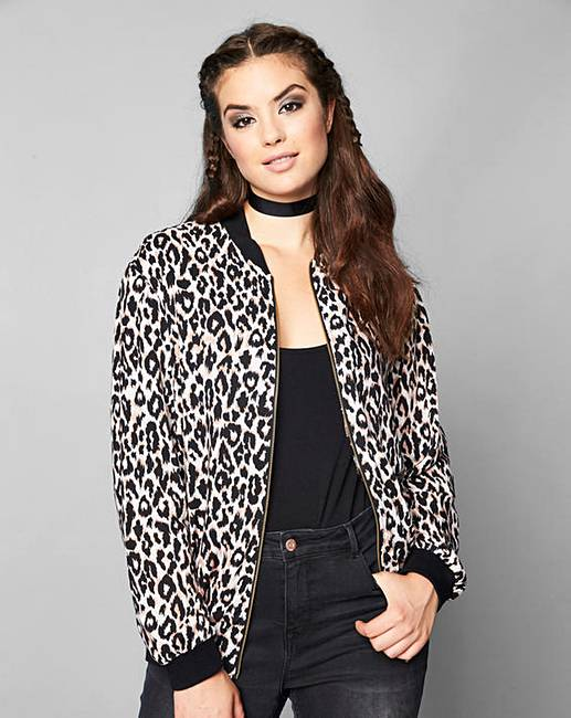 Simply Be Leopard Print Bomber Jacket | Simply Be