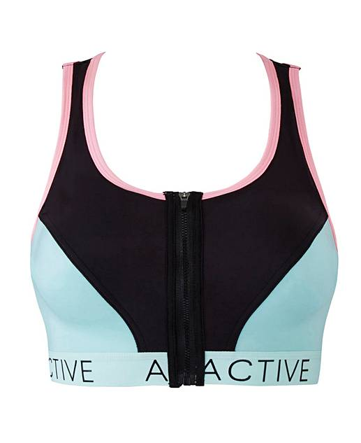 Front Fastening Peach/Turq Sports Bra | Simply Be