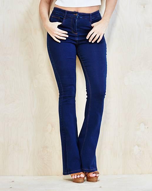 Phoebe High Waist Kick Flare Jeans Long | Simply Be