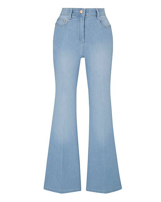 Phoebe High Waist Kick Flare Jeans Short | Simply Be