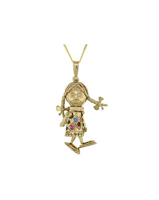 9ct gold mini rag doll necklace simply be