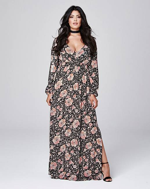 Crinkle Deep V Maxi Dress | Simply Be