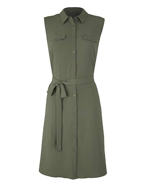 Khaki Button Sleeveless Shirt Dress Oxendales