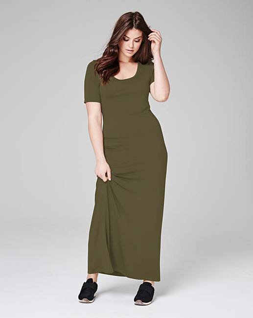 Khaki Jersey Maxi T-shirt Dress | Simply Be