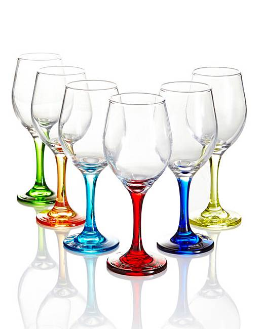 6 Piece Coloured Stem Wine Glasses Home Beauty Gift Shop