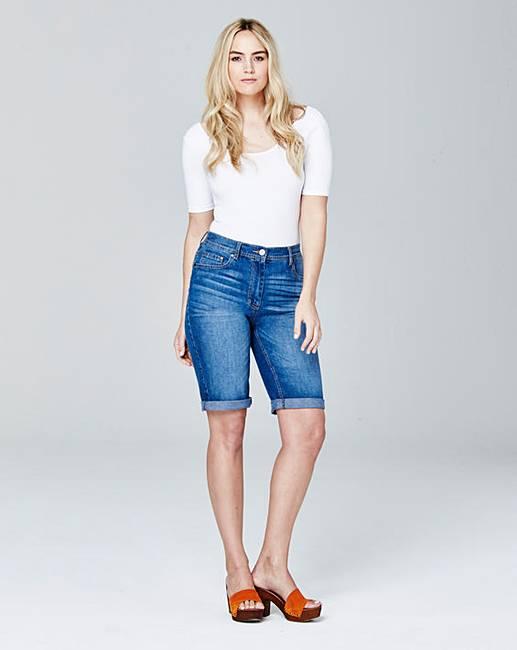 Knee Length Denim Shorts   Simply Be