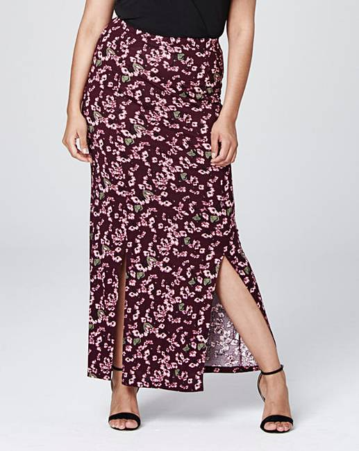 Print Double Side Split Maxi Skirt | Simply Be
