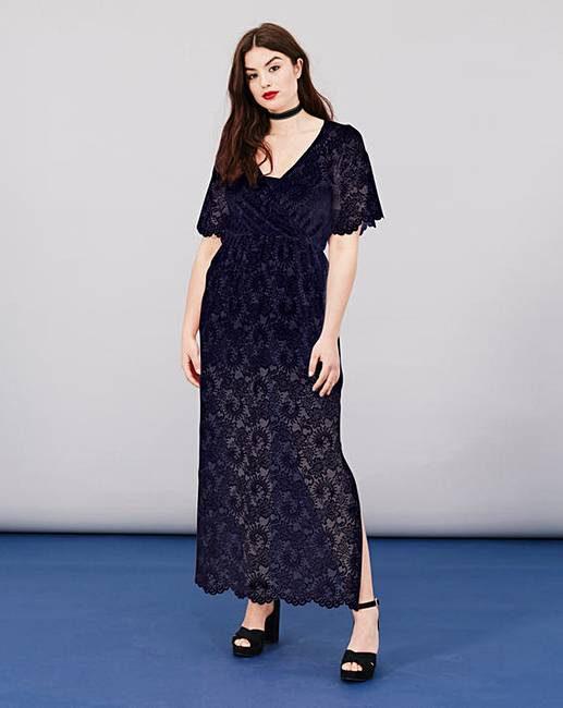 Simply Be Lace Wrap Maxi Dress | Simply Be