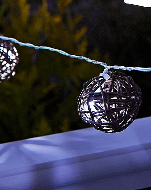 10 Rattan Globe Solar String Lights J D Williams