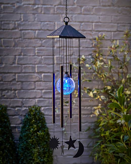 sun moon and star solar light windchime marisota. Black Bedroom Furniture Sets. Home Design Ideas