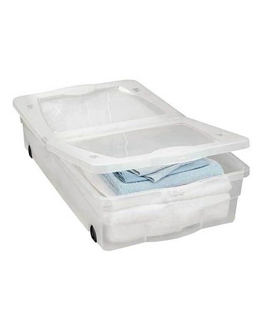 50l wheeled plastic underbed storage box marisota. Black Bedroom Furniture Sets. Home Design Ideas