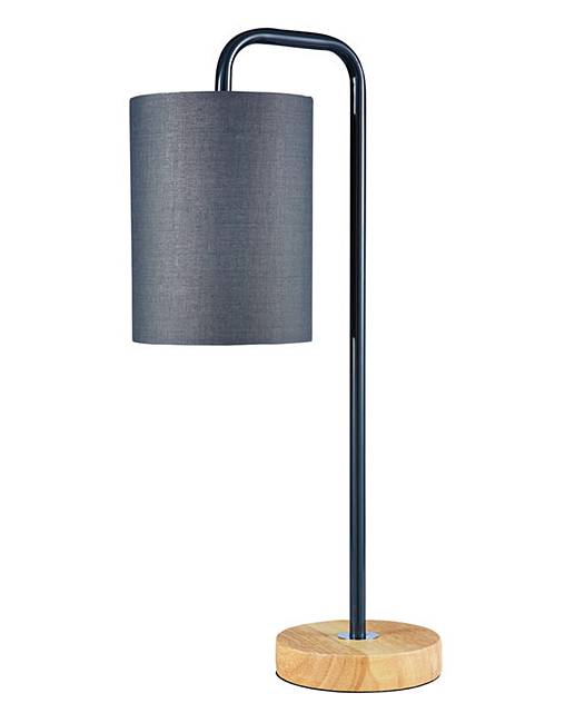 eden wooden base table lamp grey fashion world. Black Bedroom Furniture Sets. Home Design Ideas