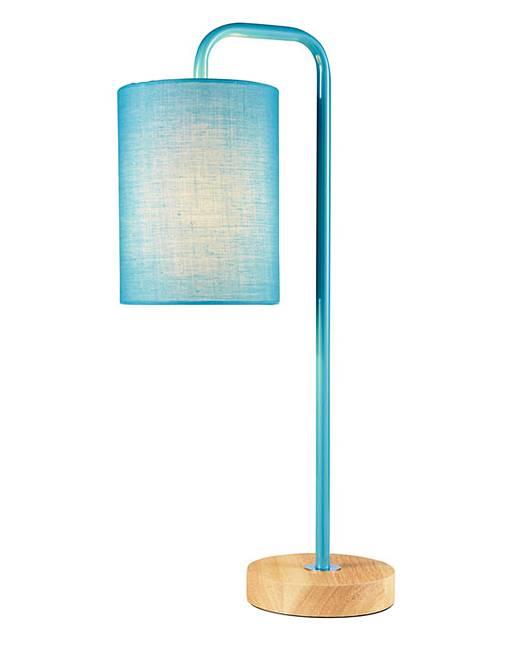 eden wooden base table lamp teal oxendales. Black Bedroom Furniture Sets. Home Design Ideas