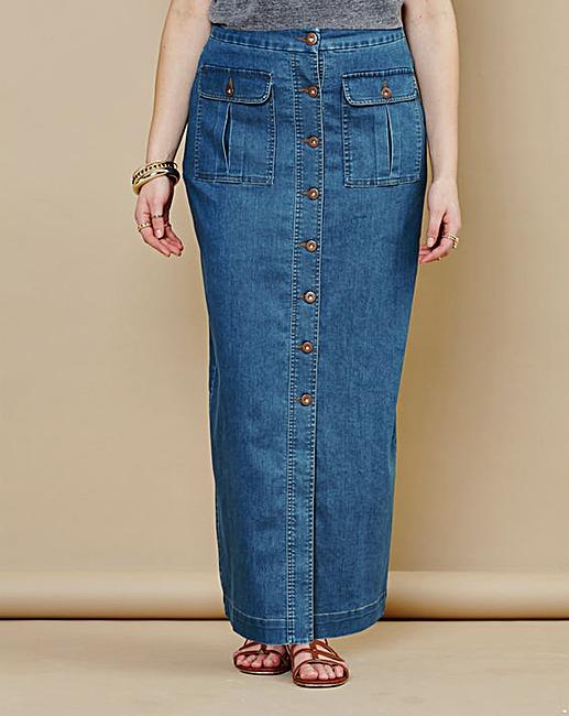 simply be denim maxi skirt clearance