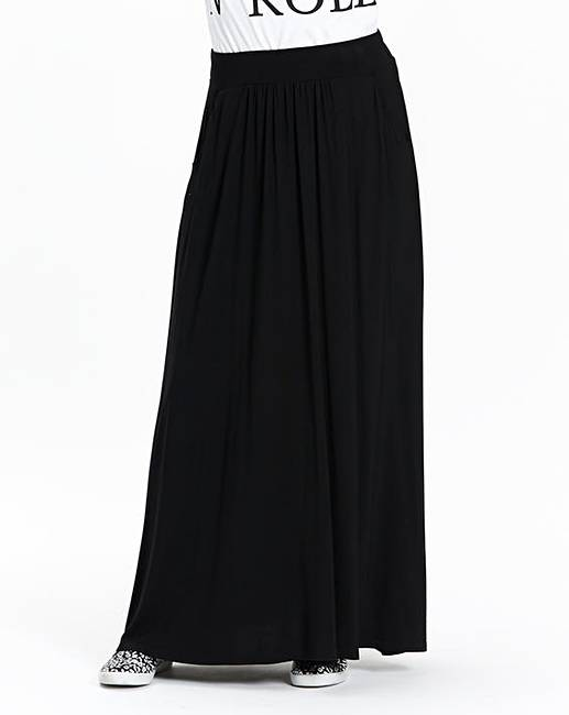 Jersey Maxi Skirt with Side Pockets | Simply Be
