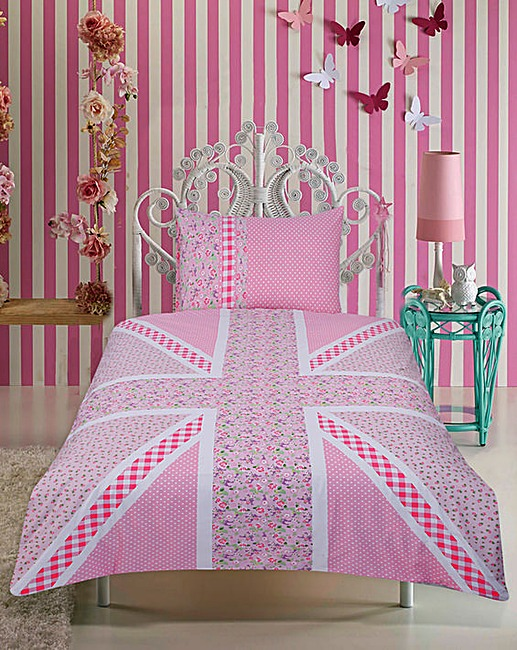 union jack pink floral duvet cover set fashion world