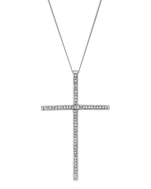 White gold large diamond cross pendant simply be 9ct white gold large 025ct diamond cross pendant mozeypictures Choice Image