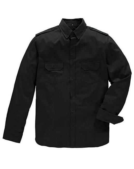 Jacamo Long Sleeve Black Military Shirt | Jacamo