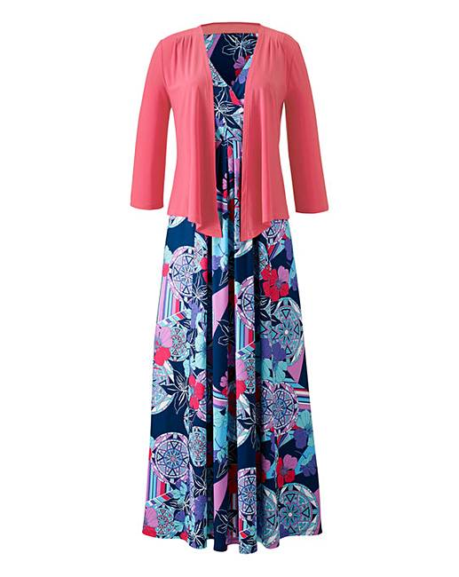 Print dress and shrug crazy clearance
